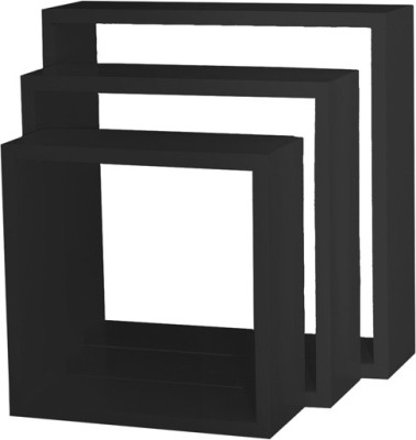 Custom Decor Nesting Wooden Wall Shelf(Number of Shelves - 3, Black)