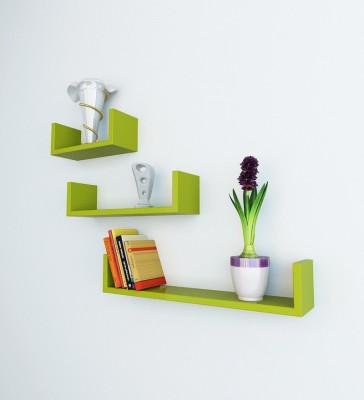 Decorhand Wooden Wall Shelf(Number of Shelves - 3, Green) at flipkart