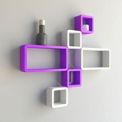 Usha Furniture Wooden Wall Shelf(Number of Shelves - 6, White, Purple) at flipkart