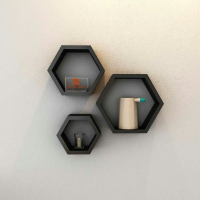 Decor World Black Hexagon Wooden Wall Shelf ( Set of 3 ) MDF Wall Shelf(Number of Shelves - 3, Black)