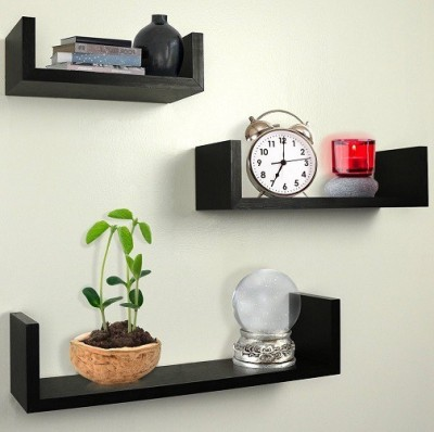 Decor Arts U Shape Wooden Wall Shelf(Number of Shelves - 3, Black) at flipkart