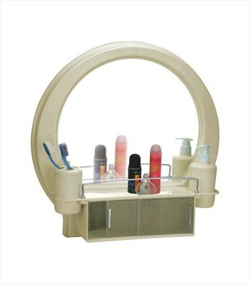 Cipla Plast Decor Designer Bathroom Mirror Cabinet - Ivory Plastic Wall Shelf(Number of Shelves - 1, White)