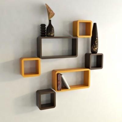 Usha Furniture MDF Wall Shelf(Number of Shelves - 6, Orange, Brown) at flipkart