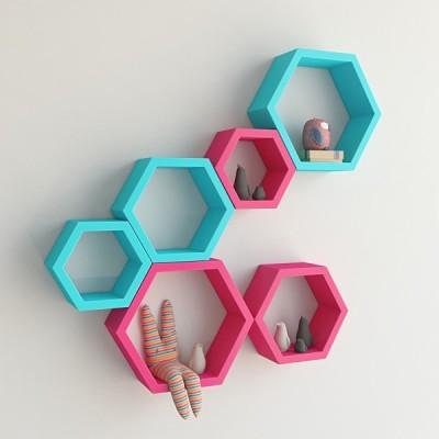 Ganeshaas Gphxd014pskb Pink N Blue Beehive Hexagon Floating MDF Wall Shelf(Number of Shelves - 6, Pink, Blue) at flipkart
