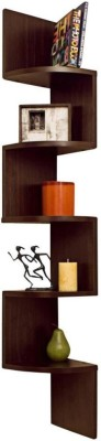 Custom Decor Zig Zag Corner Wooden Wall Shelf(Number of Shelves - 5, Brown) at flipkart