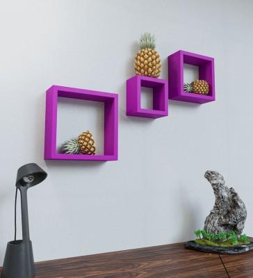 Artesia Wooden Wall Shelf(Number of Shelves - 3, Purple) at flipkart