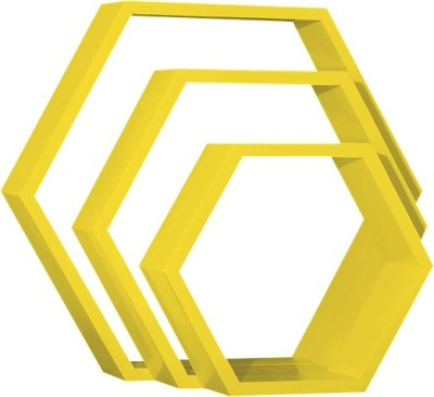 Custom Decor Hexagon Wooden Wall Shelf(Number of Shelves - 3, Yellow)