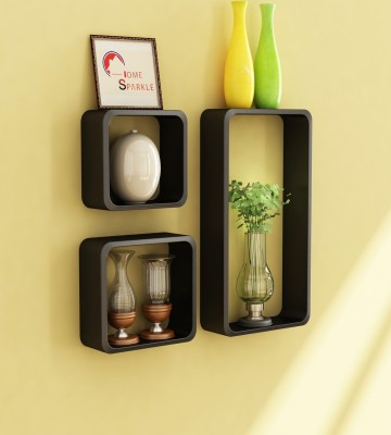 Home Sparkle Geometric Shape Wooden Wall Shelf(Number of Shelves - 3, Black) at flipkart