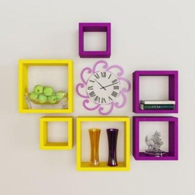 Decorhand MDF Wall Shelf(Number of Shelves - 6, Yellow, Purple) at flipkart