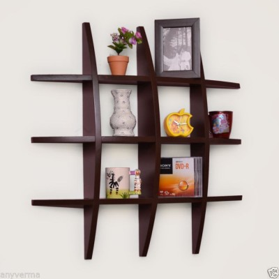 Decorhand Wooden Wall Shelf(Number of Shelves - 6, Brown) at flipkart