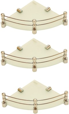 RoyaL Indian Craft Brass Bracket 8 By 8 Inch Full Frosted (Pack of 3) Glass Wall Shelf(Number of Shelves - 3, White, Beige) at flipkart