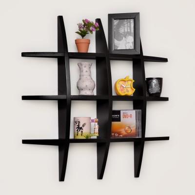 Usha Furniture Wooden Wall Shelf(Number of Shelves - 12, Black) at flipkart