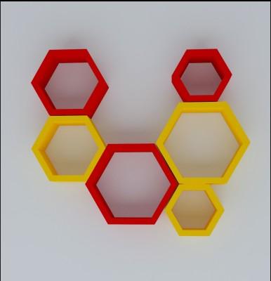 Wallz Art Hexagon Shape MDF Wall Shelf(Number of Shelves - 6, Yellow) at flipkart