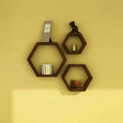 Decor World Brown Hexagon Wooden Wall Shelf ( Set of 3 ) MDF Wall Shelf(Number of Shelves - 3, Brown)