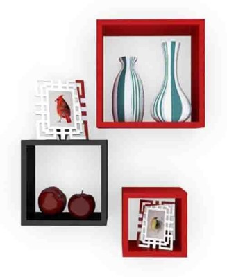 Usha Furniture Wooden Wall Shelf(Number of Shelves - 3, Red, Black) at flipkart