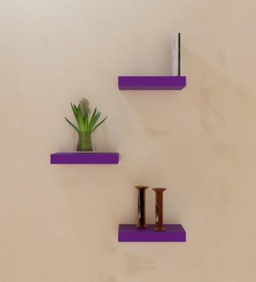 Decorhand Wooden Wall Shelf(Number of Shelves - 3, Purple) at flipkart