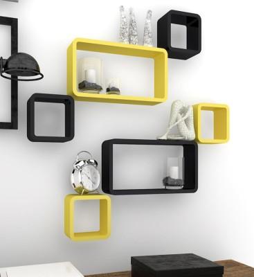 Decorhand Wooden Wall Shelf(Number of Shelves - 6, Black, Yellow) at flipkart
