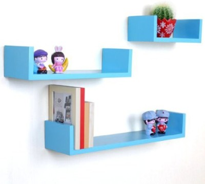 Decor Arts U Shape Wooden Wall Shelf(Number of Shelves - 3, Blue) at flipkart