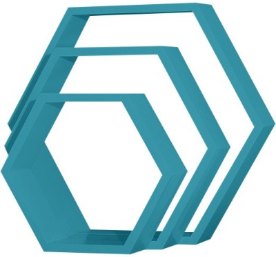 Custom Decor Hexagon Wooden Wall Shelf(Number of Shelves - 3, Blue)