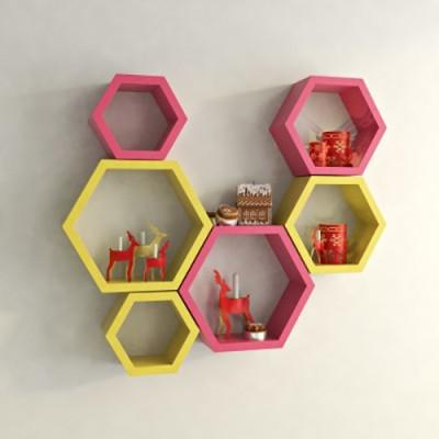 Usha Furniture Wooden Wall Shelf(Number of Shelves - 6, Pink, Yellow) at flipkart