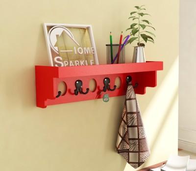 Home Sparkle Longish Shelf W/Hooks Wooden Wall Shelf(Number of Shelves - 1, Red) at flipkart