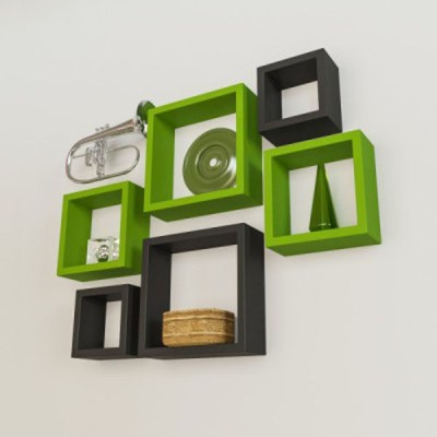 Decorhand MDF Wall Shelf(Number of Shelves - 6, Green, Black) at flipkart