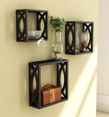 GoodsBazaar Iron Wall Shelf(Number of Shelves - 1, Black)