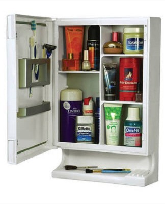 Cipla Plast Bathroom New Look Mirror Cabinet Plastic Wall Shelf(Number of Shelves - 6, White)