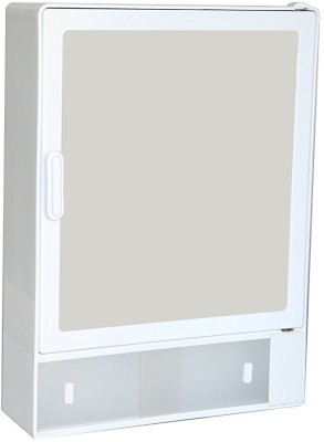 Zoom Zoom Good Morning Bathroom Mirror Cabinet (Sliding) Plastic Mirror Storage Chest (40.64 x 10.6 x 30.48, White, Blue, Ivory, Z101CSL) (WHITE) Plastic Wall Shelf(Number of Shelves - 1, White) at flipkart