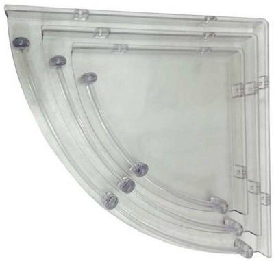 HD Decor Bathroom Corner Acrylic Wall Shelf(Number of Shelves - 3, White) at flipkart