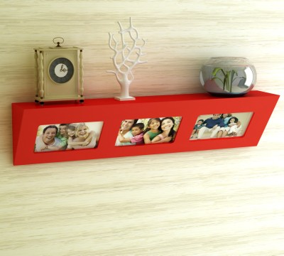 Home Sparkle Dual Concept Wooden Wall Shelf(Number of Shelves - 1, Red) at flipkart