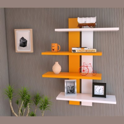 Homey Essense MDF Wall Shelf(Number of Shelves - 4, Orange, White) at flipkart