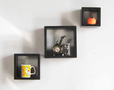 Desert Decoration MDF Wall Shelf(Number of Shelves - 3, Black) at flipkart