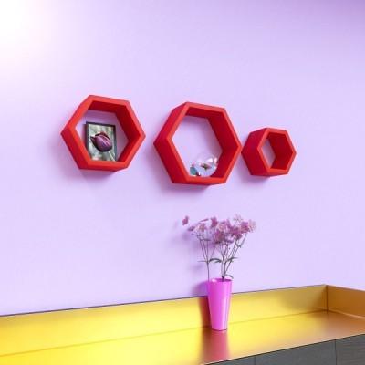 Surya Ind Hexagon Shape MDF Wall Shelf(Number of Shelves - 3, Red) at flipkart