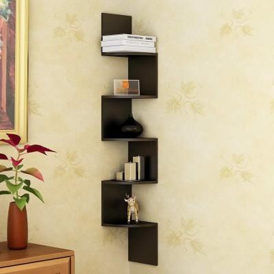 DriftingWood Zigzag Shape Corner Wooden Wall Shelf(Number of Shelves - 5, Black) at flipkart