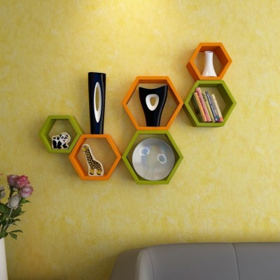 Wallz Art Hexagon Shape MDF Wall Shelf(Number of Shelves - 6, Green)