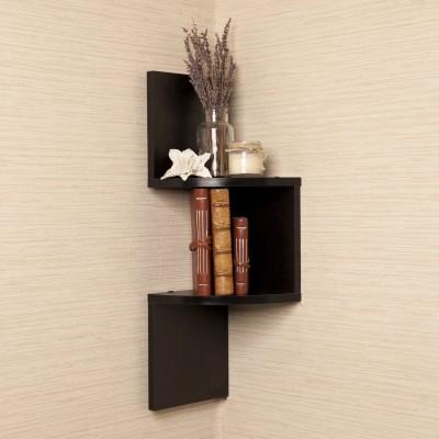 Custom Decor Zig Zag Corner Wooden Wall Shelf(Number of Shelves - 2, Brown) at flipkart