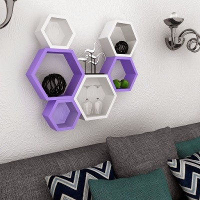 Usha Furniture Wooden Wall Shelf(Number of Shelves - 6, Purple, White) at flipkart
