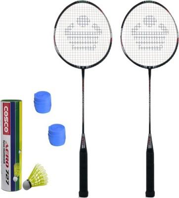 Cosco CBX-410 Badminton Kit- ( 2 Racket, 2 Grip, Aero 727 Nylon Shuttle Cock- Pack of 6 ) G5 Strung(Multicolor, Weight - 260 g)