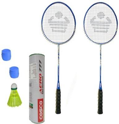 Cosco CBX-400 Badminton Kit- ( 2 Racket, 2 Grip, Aero 777 Nylon Shuttle Cock- Pack of 6 ) G5 Strung(Multicolor, Weight - 260 g)