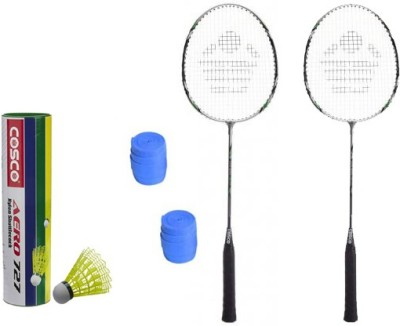 Cosco CBX-222 Badminton Kit- ( 2 Racket, 2 Grip, Aero 727 Nylon Shuttle Cock- Pack of 6 ) G5 Strung(Multicolor, Weight - 260 g)
