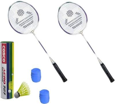 COSCO CB 885 Badminton Kit    2 Racket, 2 Grip, Aero 727 Nylon Shuttle Cock  Pack of 6   Badminton Kit COSCO Badminton Kits