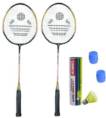 Cosco CBX 320 Badminton Kit    2 Racket, 2 Grip, Aero 727 Nylon Shuttle Cock  Pack of 6   Badminton Kit Cosco Badminton Kits