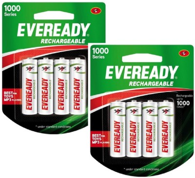 Eveready 1000 Series AA NIMH (8 Pcs) Rechargeable Ni-MH Battery  available at flipkart for Rs.600