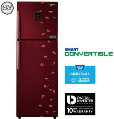 Samsung 321 L Frost Free Double Door Refrigerator (RT33JSMFERZ, Tender Lily Red)