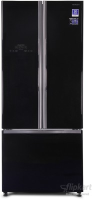 Hitachi 510 L Frost Free Side By Side Refrigerator(Glass Black, R-WB550PND2, 2016)