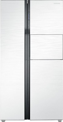 Samsung 591 L Frost Free Side by Side Refrigerator(Shiny River White, RS554NRUA1J/TL, 2016)