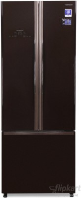Hitachi 456 L Frost Free French Door Bottom Mount Inverter Technology Star Refrigerator(Glass Brown, R-WB480PND2)