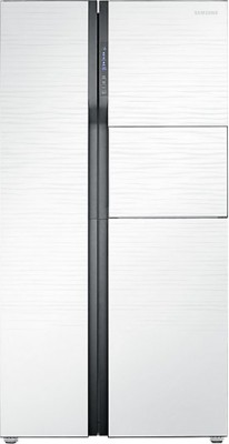 Samsung 591 L Frost Free Side by Side Refrigerator(White Shiny River Glass, RS554NRUA1J)