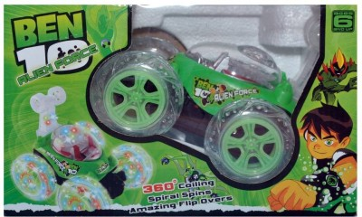 Prro Ben 10 Stunt Car Rechargeable With Remote Controller(Green)